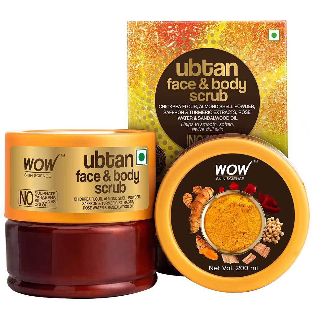 Wow Ubtan Face & Body Scrub with Chickpea Flour, Almond Shell Powder, Safron & Turmeric Extracts, Rose Water & Sandalwood Oil Scrub