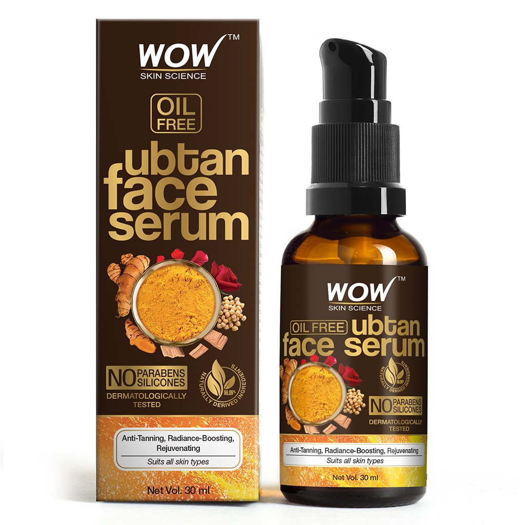 Wow Ubtan Face Serum, Oil Free, for Anti Tanning, Radiance Boosting, Rejuvenating Skin