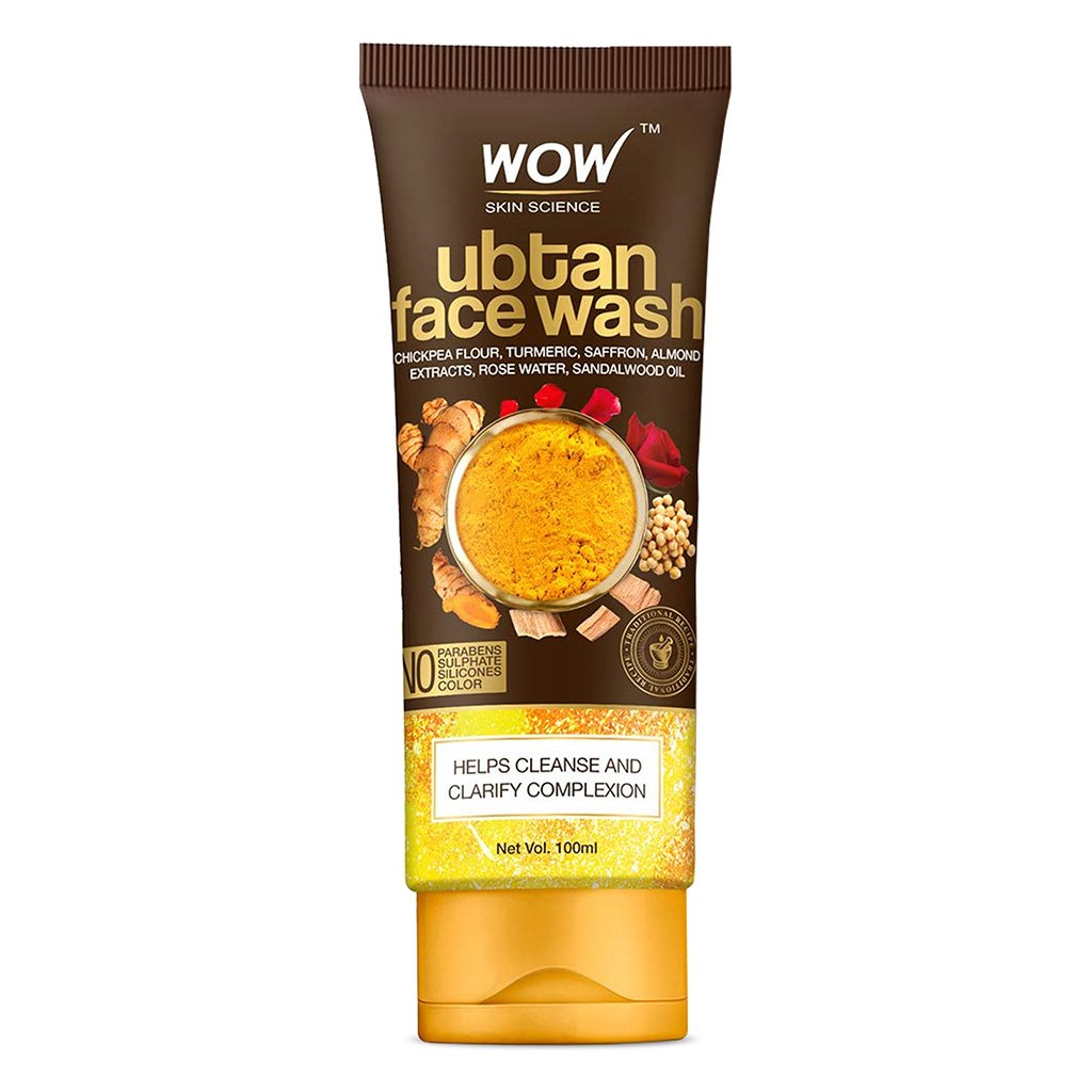 Wow Ubtan Face Wash with Chickpea Flour, Turmeric, Saffron, Almond Extract, Rose Water & Sandalwood Oil