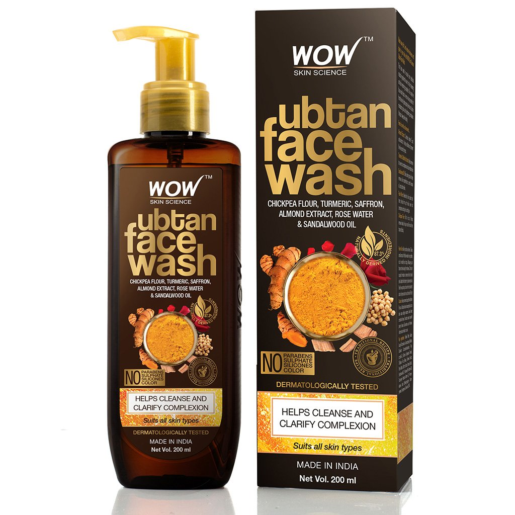 Wow Ubtan Face Wash, with Chikpea Flour, Turmeric, Saffron, Almond Extract & Sandalwood Oil, for Cleansing & Clarifying Complexion