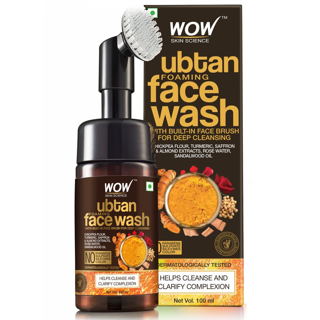 Wow Ubtan Foaming Face Wash with Built-In Face Brush for Deep Cleansing