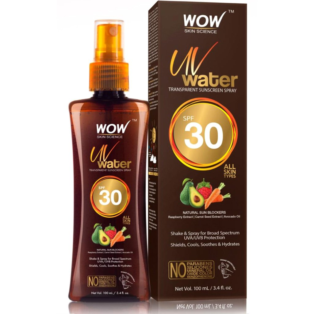 Wow Uv Water Transparent Sunscreen Spray SPF 30, Quick Absorbing, Oil Free, with Raspberry Extract, Carrot Seed Extract, Avocado Oil