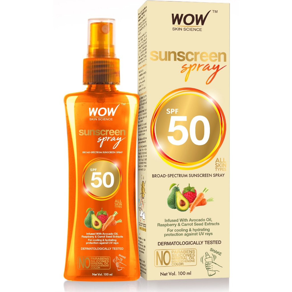 Wow Uv Water Transparent Sunscreen Spray SPF 50, Quick Absorbing,Oil Free,Non Sticky-with Raspberry & Carrot Seed Extract