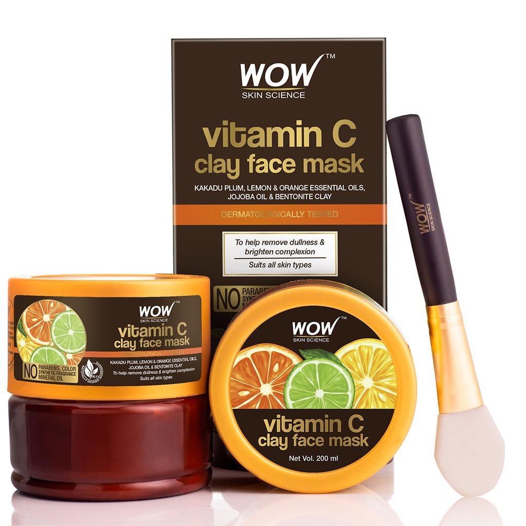 Wow Vitamin C Glow Clay Face Mask with Lemon & Orange Essential Oils, Jojoba Oil & Bentonite Clay