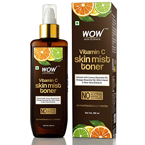 Wow Vitamin C Skin Mist Toner with Lemon Essential Oil, Orange Essential Oil Witch Hazel & Aloe Vera Extracts