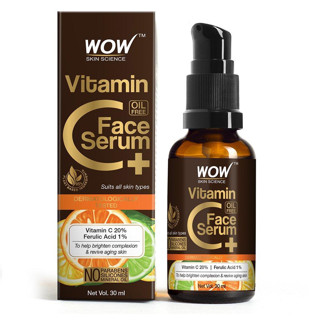 Wow Vitamin C+ Face Serum, Vitamin C 20%, Ferulic Acid 1%, Brightening, Anti-Aging Skin Repair
