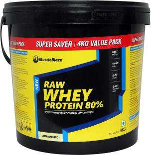 MuscleBlaze Raw Whey Protein (4Kg, Unflavoured)