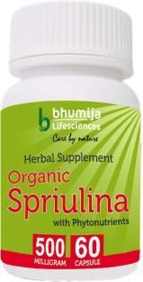 Bhumija Lifesciences Organic Spirulina Capsules (60 Capsules)