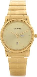 Sonata NC7023YM08 Analog Gold Dial Men's Watch (NC7023YM08)
