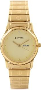 Sonata NC7023YM09 Classic Analog Gold Dial Men's Watch (NC7023YM09)