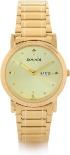 Sonata NC1141YM13 Analog Gold Toned Dial Men's Watch (NC1141YM13)