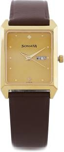 Sonata NG7007YL05 Yuva Analog Champagne Dial Men's Watch (NG7007YL05)