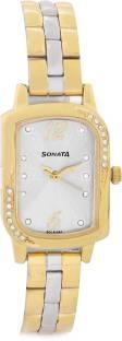 Sonata NG87001BM01 Analog White Dial Women's Watch (NG87001BM01)