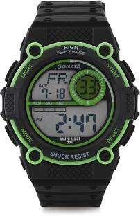 Sonata 77004PP01 Black Digital Men's Watch (77004PP01)