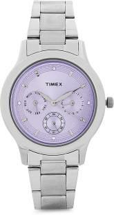 Timex TI000Q80500 E Class Analog Purple Dial Women's Watch (TI000Q80500)