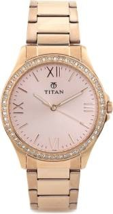 Titan NF9955WM01 Analog Rose Gold Toned Women's Watch (NF9955WM01)