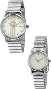Titan NF15802490SM03 Analog White Dial Couple Watch (NF15802490SM03)