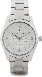 Titan 9493SM01J Silver Toned Dial Chronograph Men's Watch (9493SM01J)