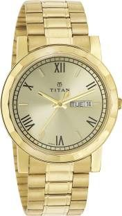 Titan NH1644YM03 Gold Dial Analogue Men's Watch (NH1644YM03)