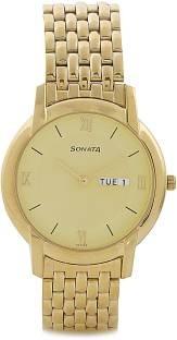 Sonata NF7954YM02 Analog Gold Dial Men's Watch (NF7954YM02)