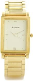 Sonata NF7058YM02 Analog Gold Dial Men's Watch (NF7058YM02)