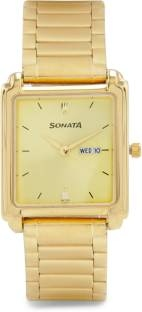 Sonata NG7053YM05A Analog Champagne Dial Men's Watch (NG7053YM05A)