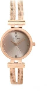 Titan Purple 9942WM01J Glam Gold Analog Pearl dial Women's Watch (9942WM01J)
