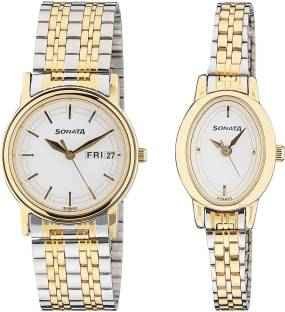 Sonata 11418100BM01 Wedding Analog Couple Watch (11418100BM01)