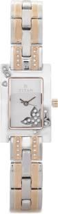 Titan Purple 9716KM01E Glam Gold Analog Silver Dial Women's Watch (9716KM01E)