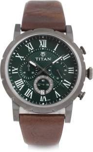 Titan 90050QL01J Green Analogue Men's Watch (90050QL01J)