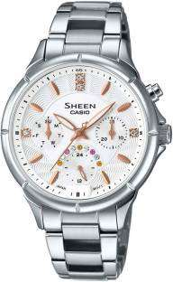 Casio Sheen SHE-3047D-7AUDR (SX166) Analog White Dial Women's Watch (SHE-3047D-7AUDR (SX166))