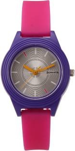 Sonata 87024PP02 Color Pop Analog Silver Dial Girls Watch (87024PP02)