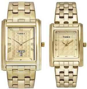 Timex TW00PR201 Analog Gold Dial Couple Watch (TW00PR201)