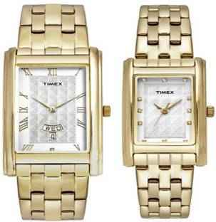 Timex TW00PR200 Analogue Silver Dial Couple Watch (TW00PR200)