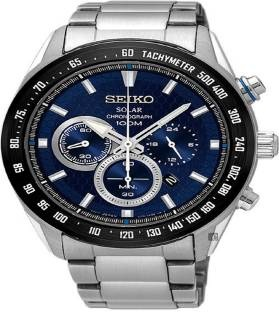 Seiko Blue Silver Stainless Steel Chronograph Watch