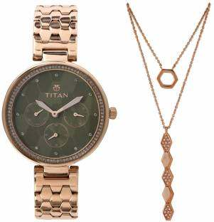 Titan 95059WM02F Analog Green Dial Women's Watch (95059WM02F)