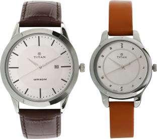 Titan 15842481SL01 Modern Bandhan Analog Silver Dial Couple Watch (15842481SL01)
