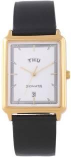 Sonata 77084YL01 Essentials Analog White Dial Men's Watch (77084YL01)