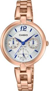 Casio Enticer LTP-E401PG-7AVDF A1290 Silver Dial Analog Watch For Women (LTP-E401PG-7AVDF A1290)