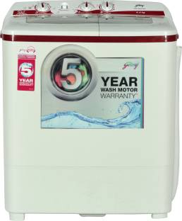 Godrej GWS 6204 PPD 6.2 KG Top Load Semi-Automatic Washing Machine, White & Red