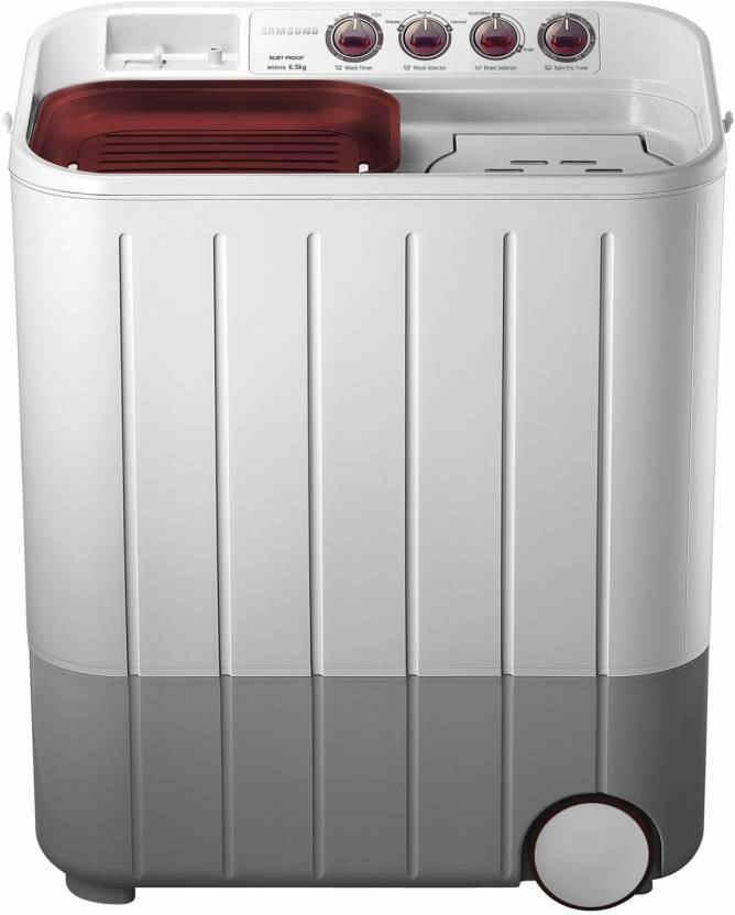 Samsung 6.5Kg Semi Automatic Top Load Washing Machine WhiteMaroon (WT657QPNDPGXTL, White Maroon)