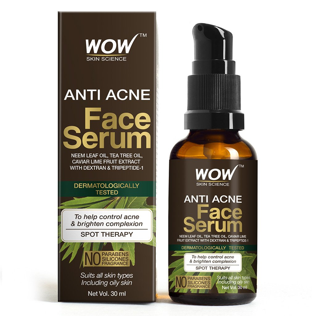 Wow Anti Acne Face Serum, Natural Neem Leaf Oil, Tea Tree Oil, Caviar Lime Fruit Extract, Spot Therapy