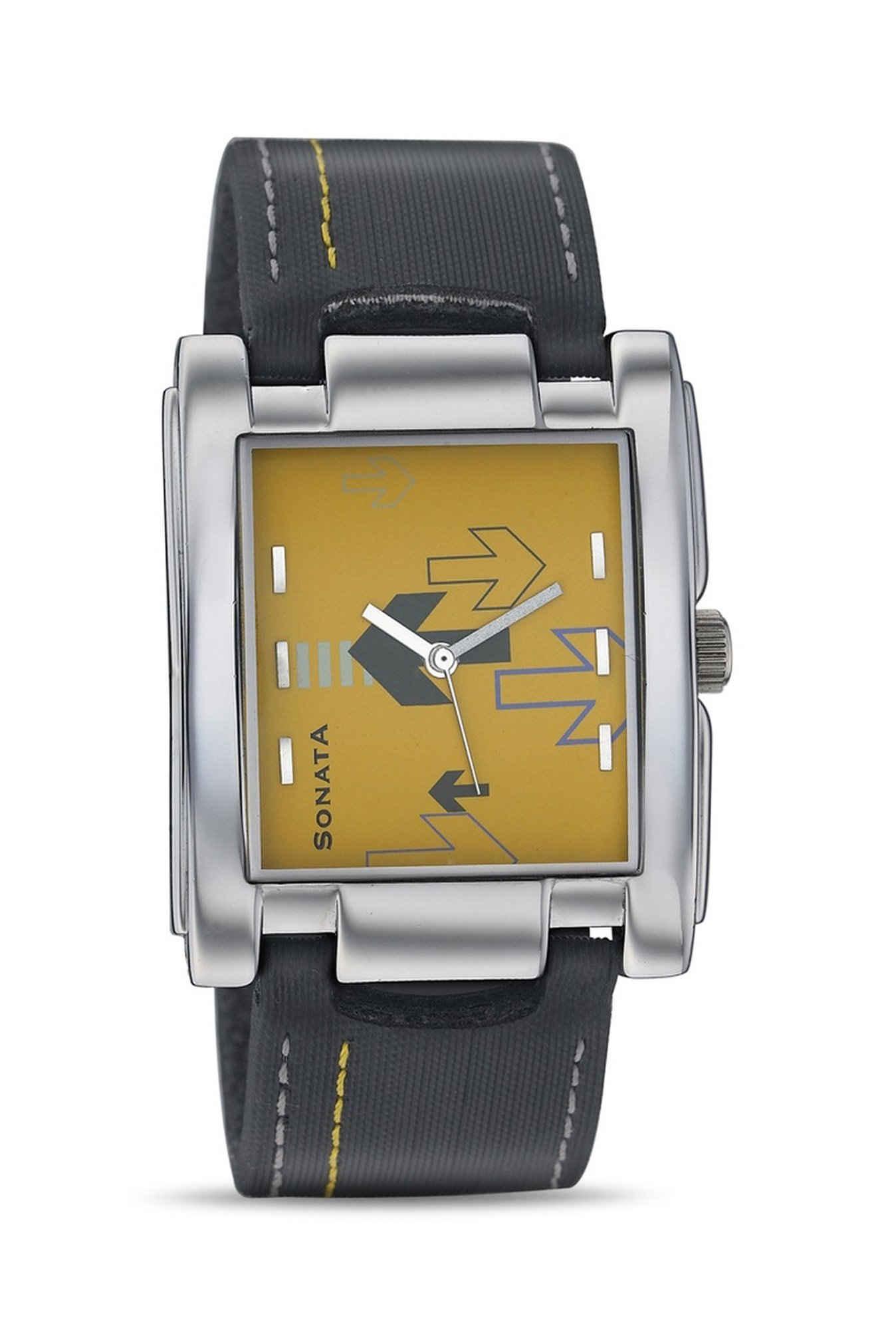 Sonata NG7946SL01AC Yuva Analog Yellow Dial Men's Watch (NG7946SL01AC)