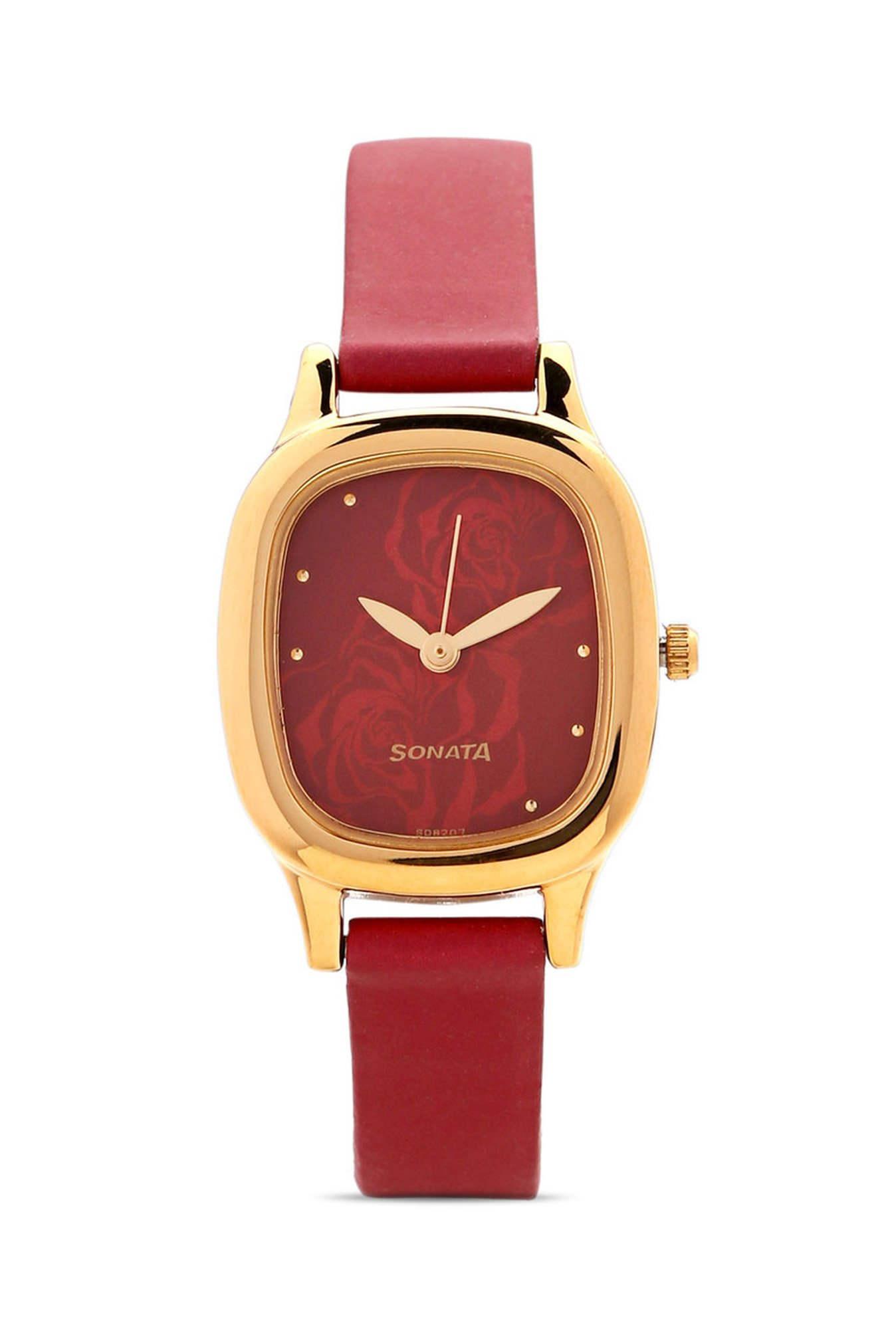 Sonata NG8060YL03C Superfibre Analog Red Dial Women's Watch (NG8060YL03C)