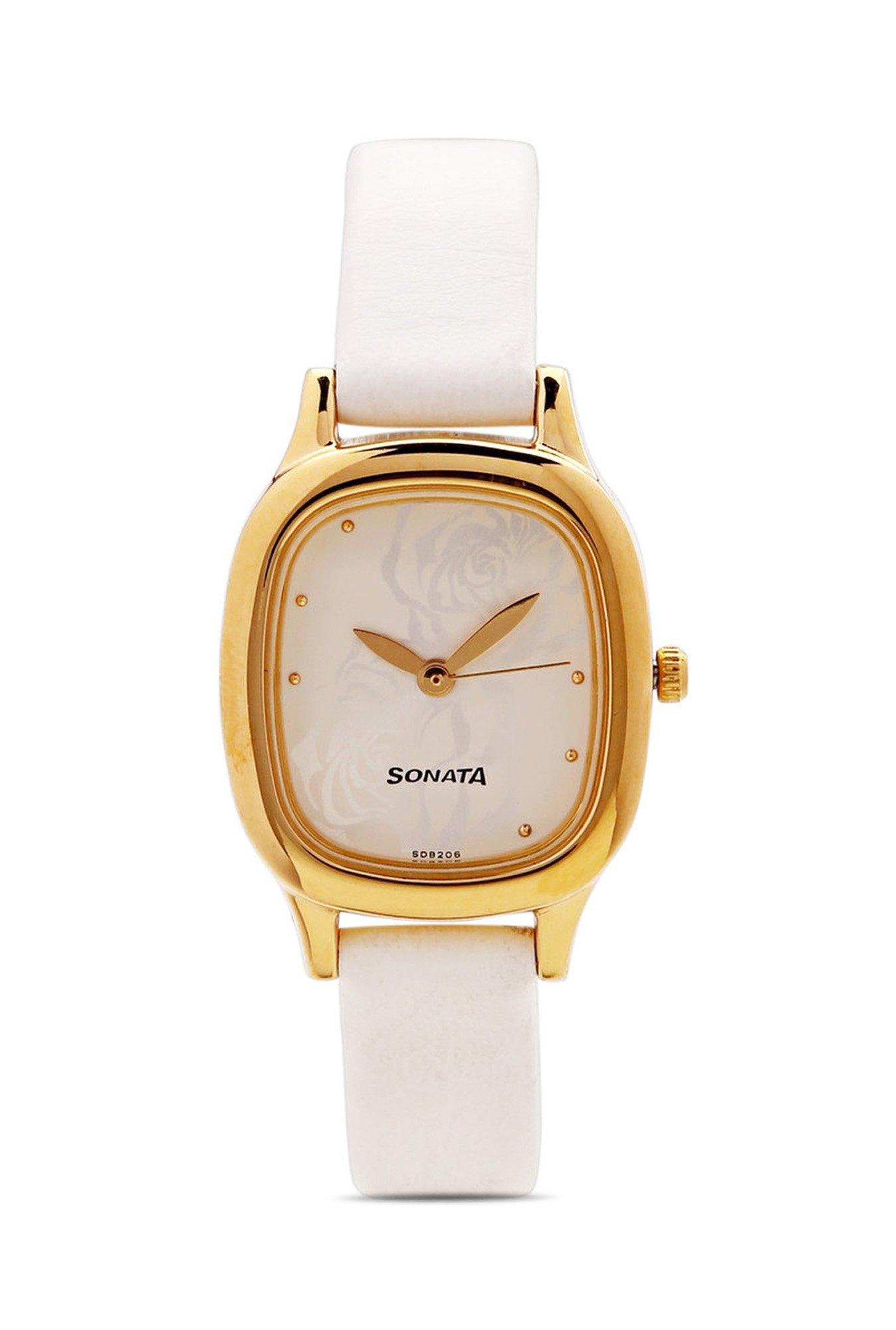 Sonata NG8060YL02C Analog White Dial Women's Watch (NG8060YL02C)