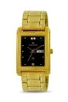 Maxima 07550CPGY Formal Gold Analog Black Dial Men's Watch