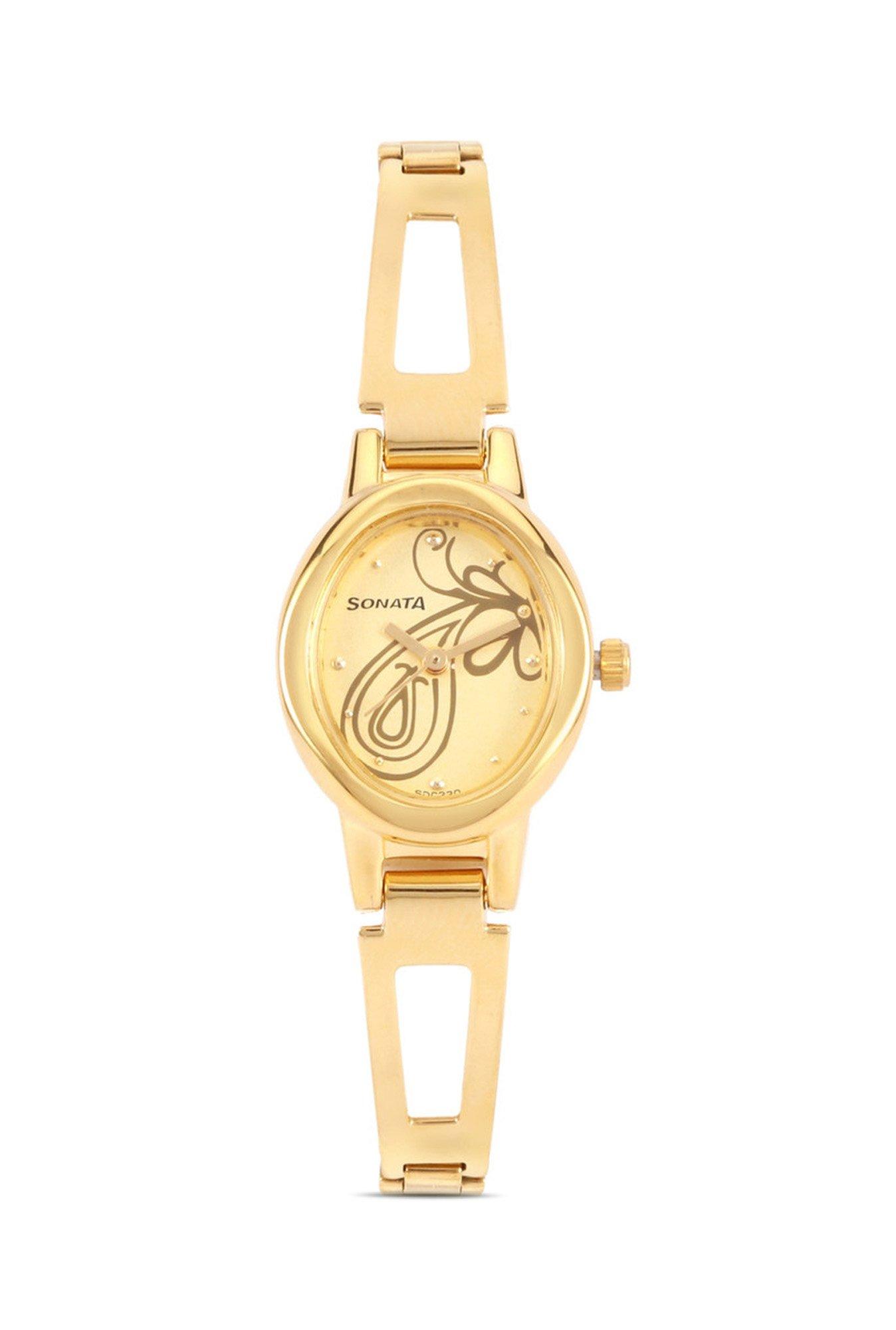 Sonata 8085YM01 Everyday Analog Champagne Dial Women's Watch (8085YM01)