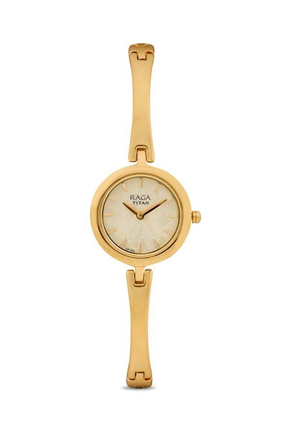 Titan Raga 2553YM02 Analog Champagne Dial Women's Watch (2553YM02)