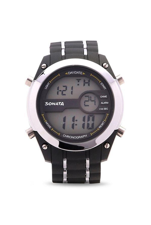 Sonata 77034PP01 Ocean Series Black Digital Men's Watch (77034PP01)