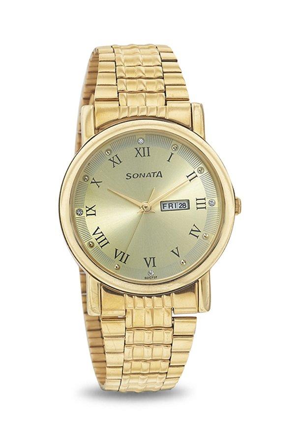 Sonata 7987YM04J Wedding Analog Gold Dial Men's Watch (7987YM04J)